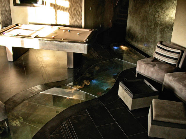 Underground Fish Tank Next To Pool Table Custom Manufacture Of - Fish tank pool table