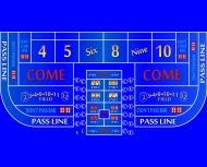 Single Dealer Casino Craps Layout 6 Foot to 8 Foot Blue Color Discounted