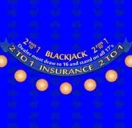 Casino Blackjack Layout Blue BJ Pays 2 to 1
